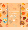 breakfast menu seamless pattern vector image vector image