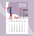 calendar 2019 august calendar calendar vector image vector image