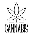 cannabis leaf logo outline style vector image
