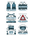 car auto service and spare parts icons vector image vector image