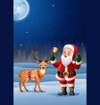 christmas background with santa claus cartoon ring vector image vector image