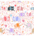 cute couple elephant on pink flower seamless vector image