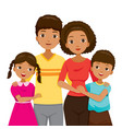 daughter and son hugging their parent family with vector image