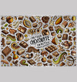 doodle cartoon set chocolate theme items vector image