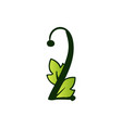 doodling eco alphabet two numbertype with leaves vector image