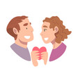enamored couple in love holding heart feeling vector image vector image