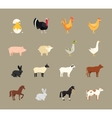 Farm animals set in flat style vector image
