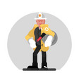 fireman standing with fire hose vector image vector image