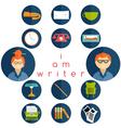 flat design writer web icons set vector image