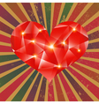 Futuristic geometric heart on grunge background vector image
