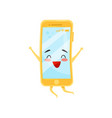 happy humanized mobile phone in jumping action vector image