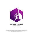 hexagon lungs logo designs lungs with hexagon vector image