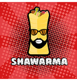 hipster shawarma with sunglasses in pop art style vector image vector image