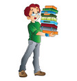 man carrying books vector image vector image