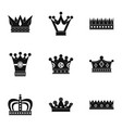 medieval crown icon set simple style vector image vector image