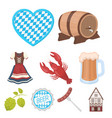 oktoberfest set icons in cartoon style big vector image vector image