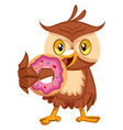 owl eating donut on white background vector image vector image