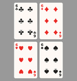 Playing cards Six vector image vector image