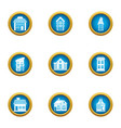 private house icons set flat style vector image vector image