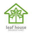 real estate leaf house design icon vector image