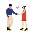 romantic couple holding hands first dating vector image vector image