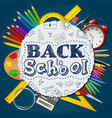 school supplies in a circle on blue background vector image vector image