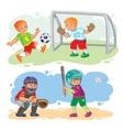 set icons boys playing football and baseball vector image vector image