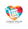 shop and shopping gift heart shape logo design vector image vector image