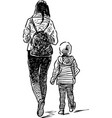 sketch an young mother with a her kid vector image vector image