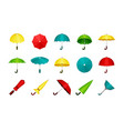 umbrellas set folded and unfolded modern vector image vector image
