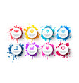 white circles with splashes paints vector image vector image