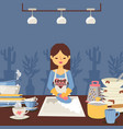woman is washing dishes vector image vector image
