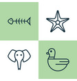 zoo icons set collection of trunked animal vector image vector image