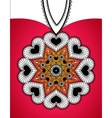 Greeting banner with round pendant from hearts vector image