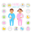 baby boy and girl set vector image vector image