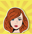 beautiful woman face pop art comic vector image
