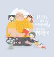 big grandmother reading book to her grandchildren vector image vector image