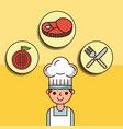 boy chef cartoon with meat tomato and fork knife vector image vector image