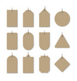 brown cardboard price tags with shadow vector image vector image