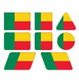buttons with flag of Benin vector image
