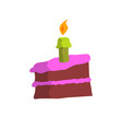 cake slices with candles flat design vector image