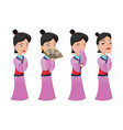 china woman people character set vector image vector image