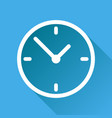 clock icon flat design with long shadow on blue vector image vector image