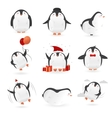 collection cute penguins characters set of vector image
