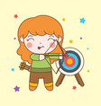 cute archer girl with blonde hair want to shoot vector image
