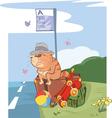 Cute Cat Traveler Cartoon vector image vector image