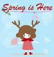 cute deer girl on blue background spring pattern vector image vector image
