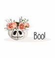 cute kawaii little pumpkin head with flower decora vector image