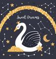 cute swan in night sky sweet dreams vector image