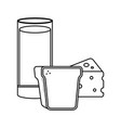 delicious milk glass cup with bread and cheese vector image
